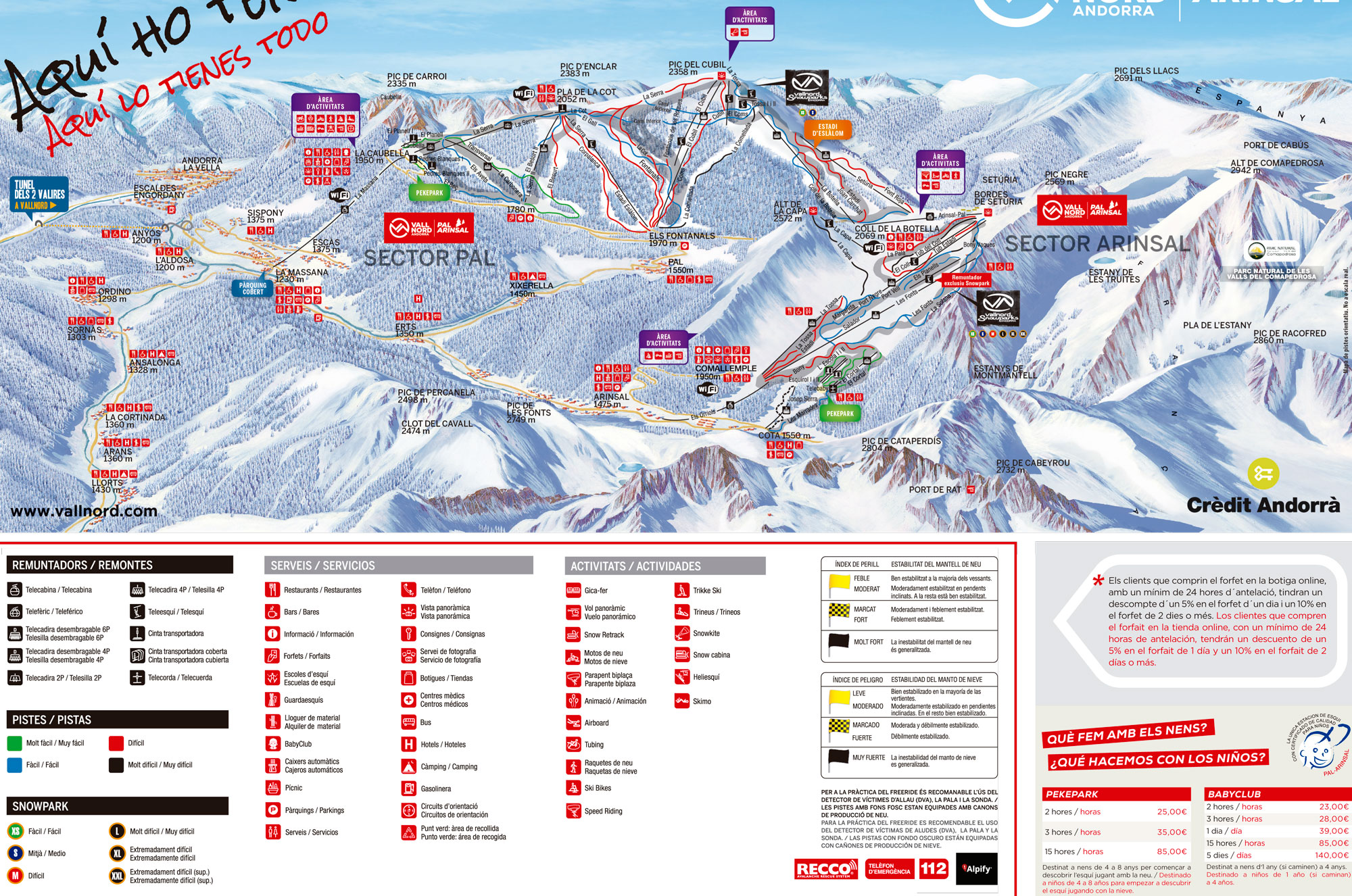 Vallnord (Pal-Arinsal) Trail map