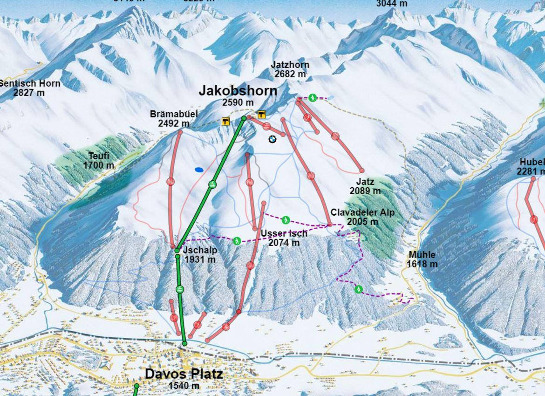 Davos Jakobshorn Mapa pistas