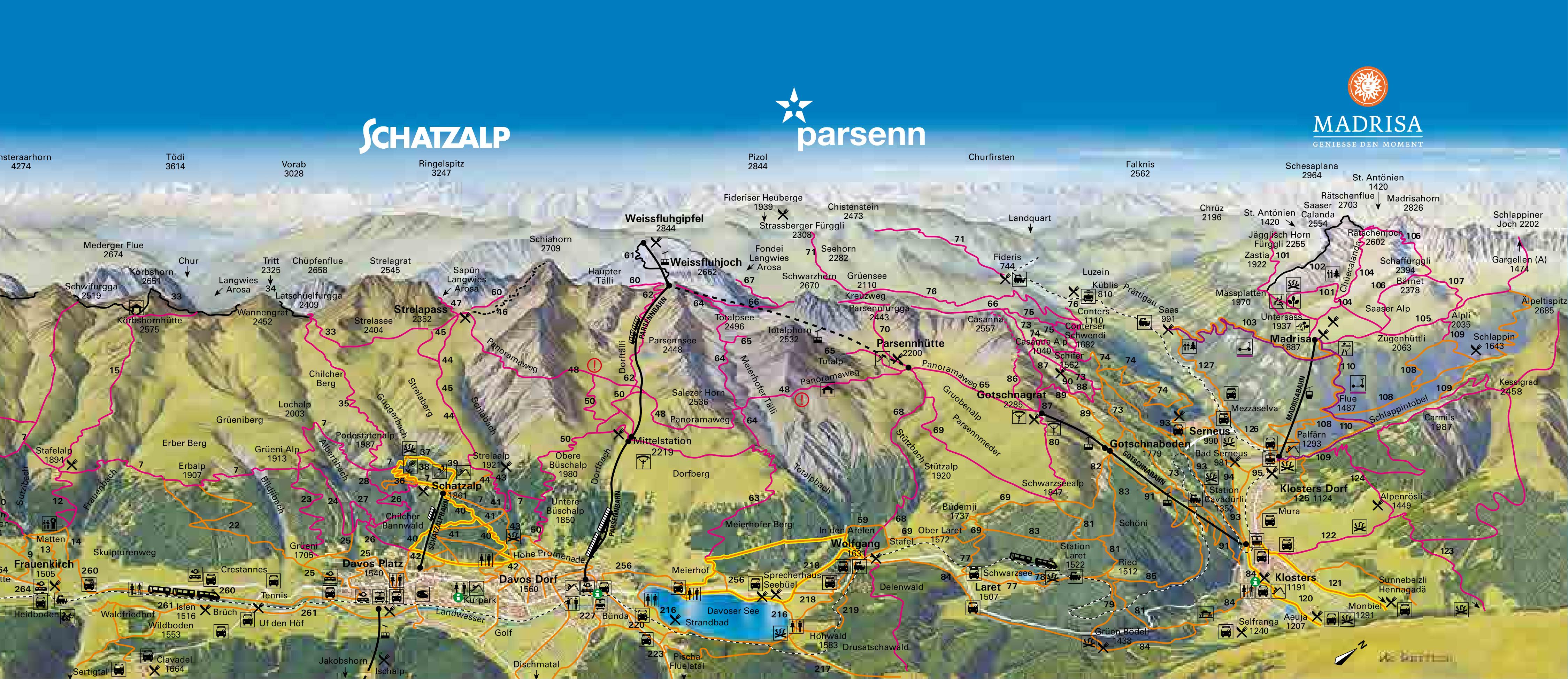 Davos Parsen Trail map