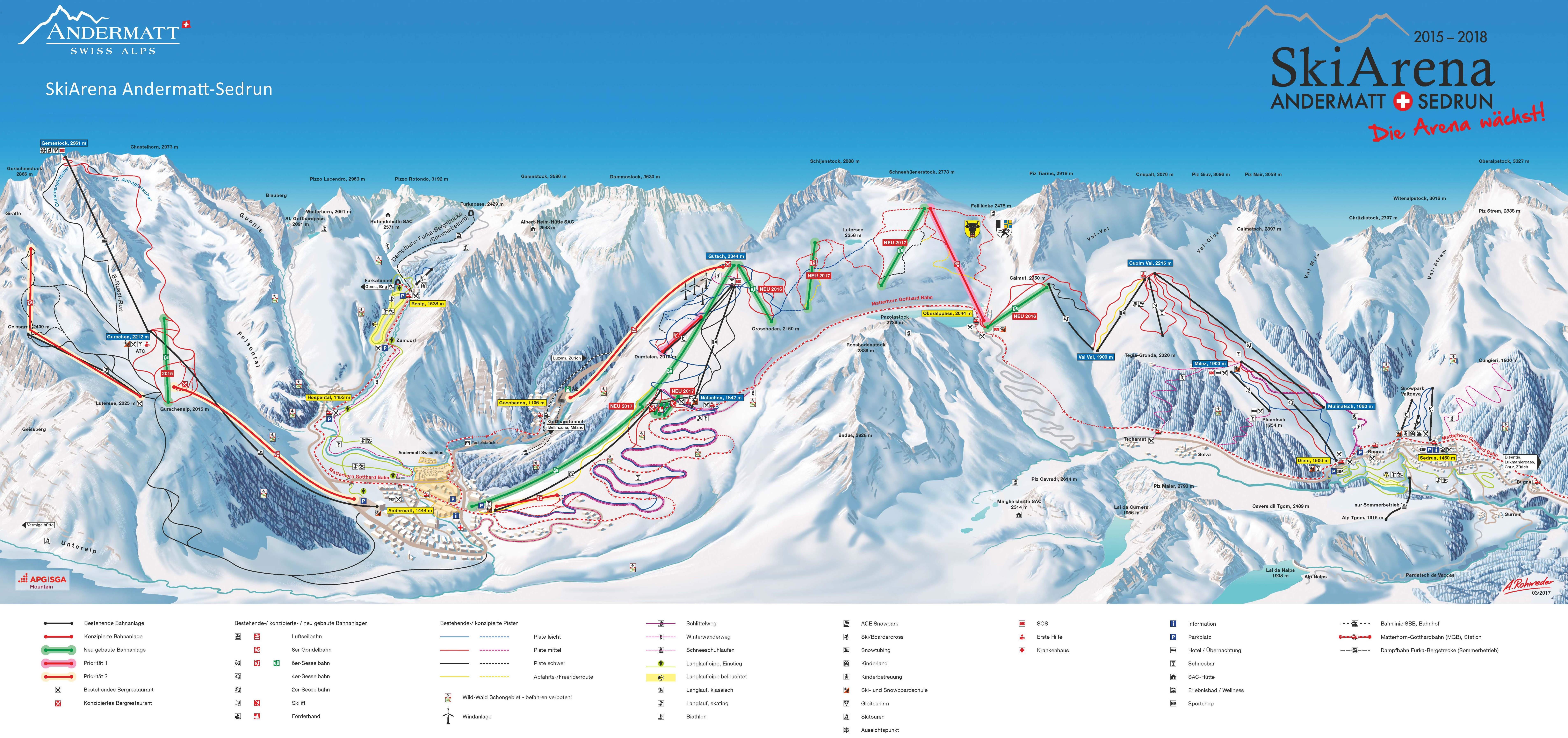 SkiArena - Andermatt Sedrun Mapa pistas