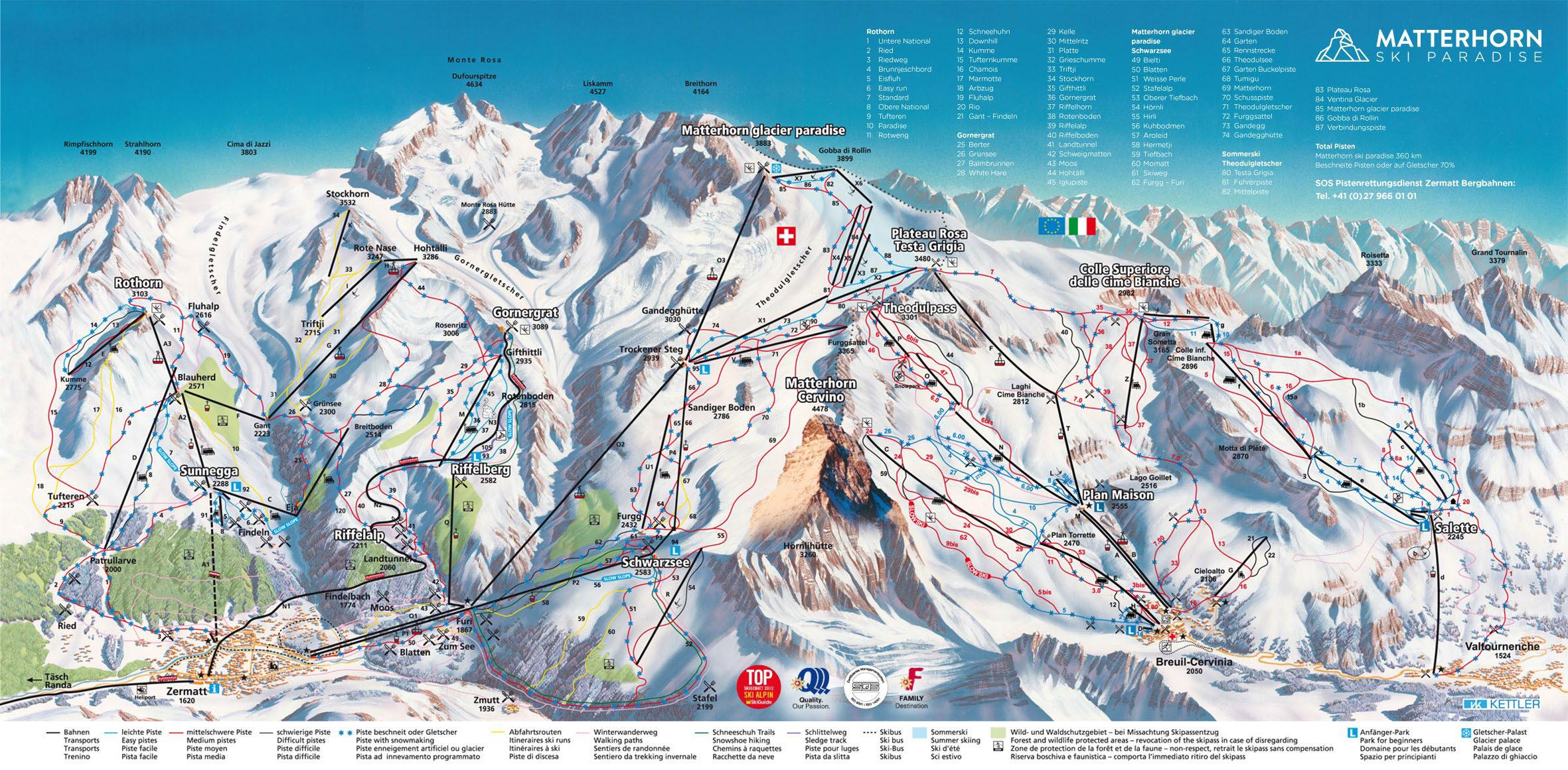 Zermatt Mapa pistas