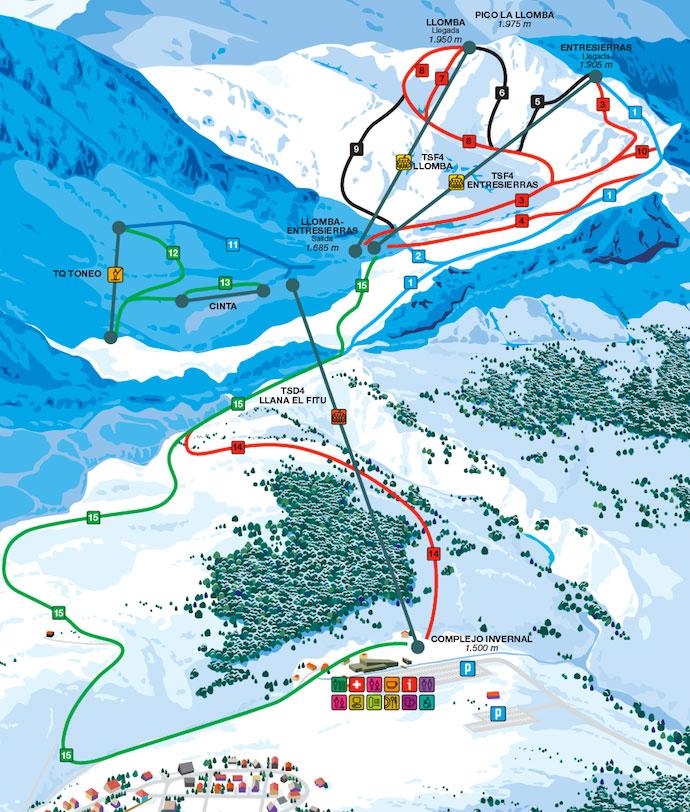Fuentes de Invierno Plan des pistes