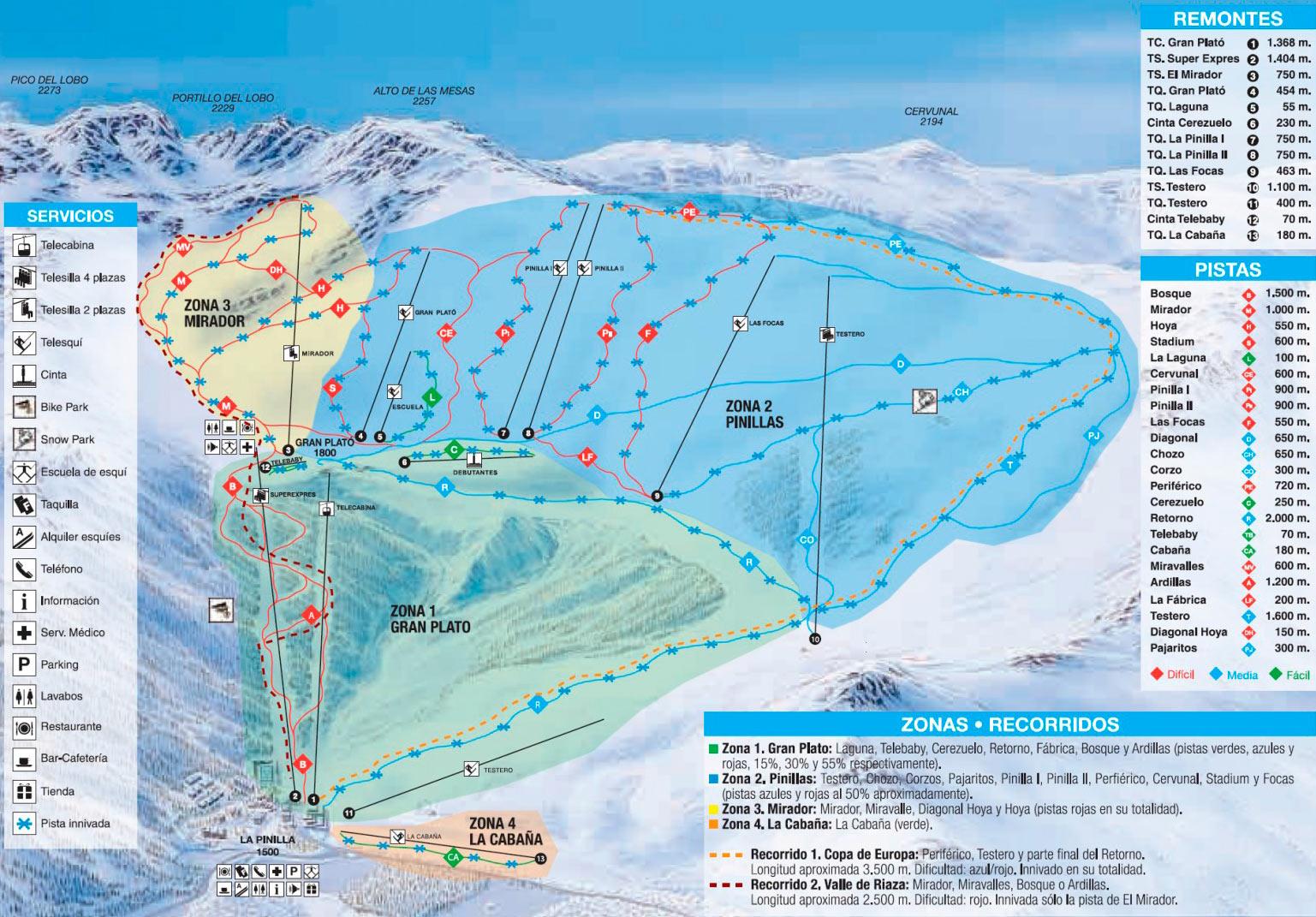 La Pinilla Trail map