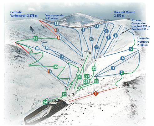 Valdesqui Plan des pistes