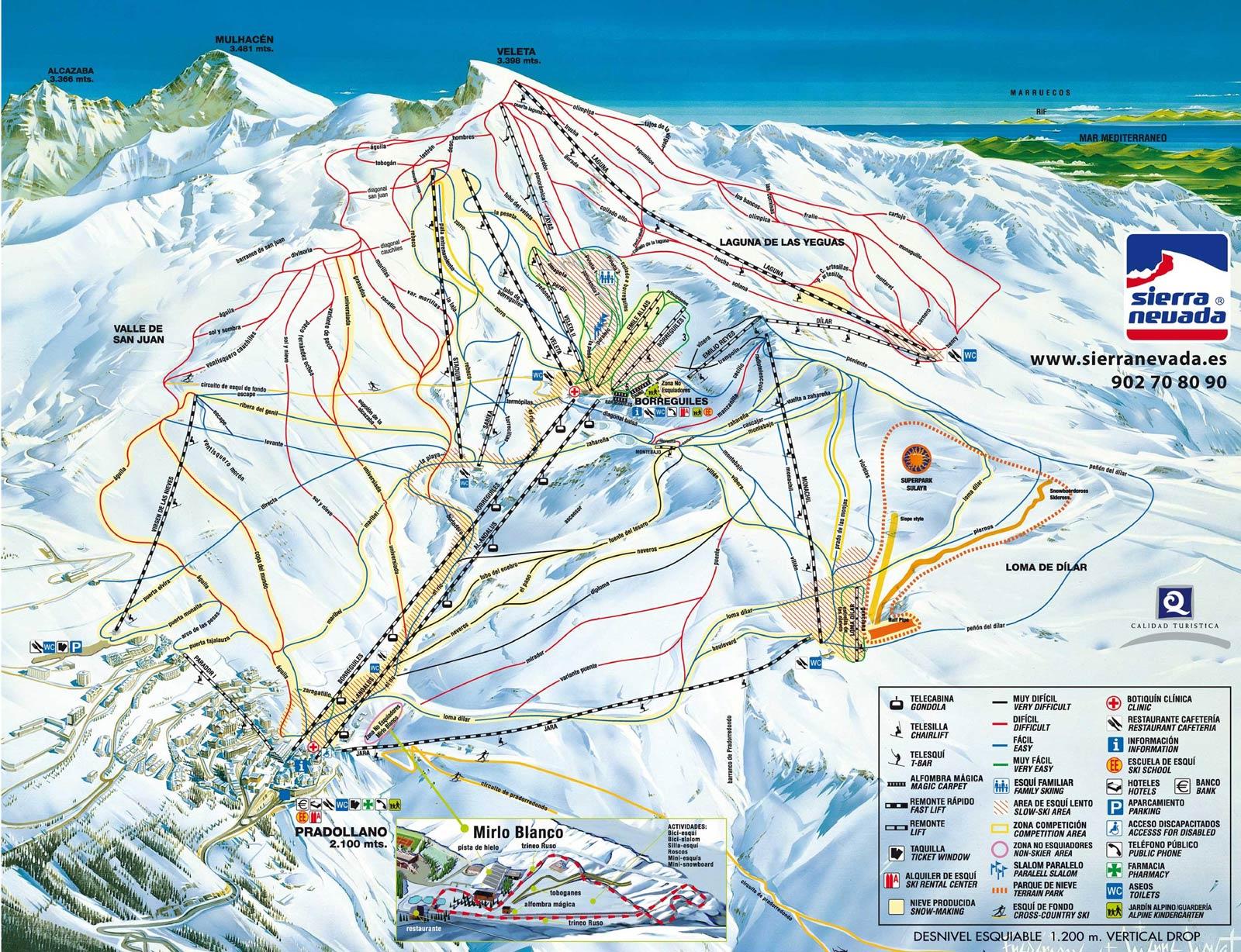 Sierra Nevada Mapa pistas