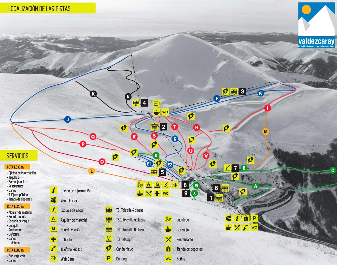 Valdezcaray Plan des pistes