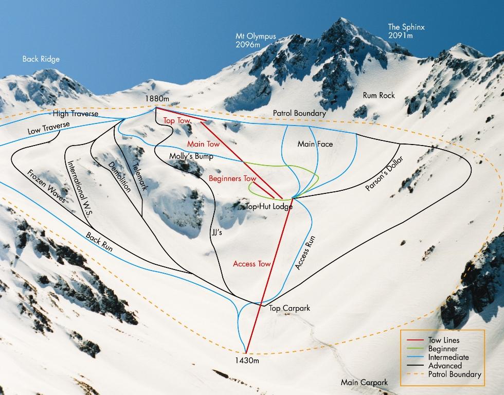 Mount Olympus Plan des pistes