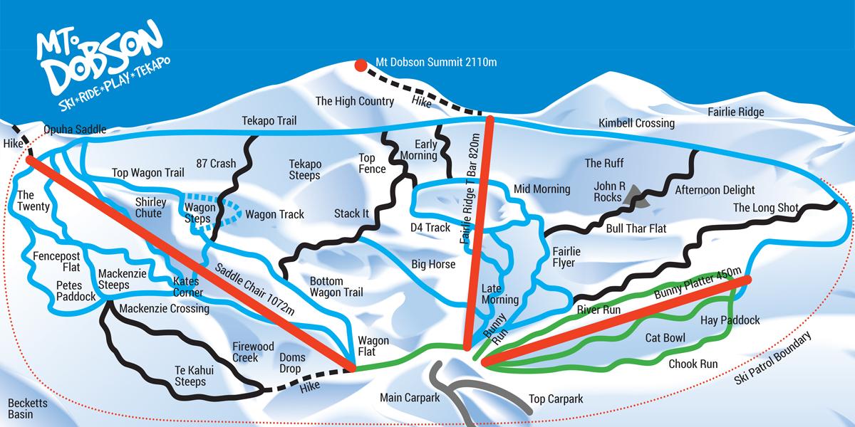 Mount Dobson Mapa pistas