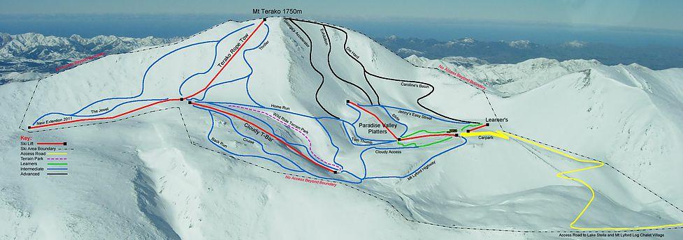 Mt Lyford Mapa pistas