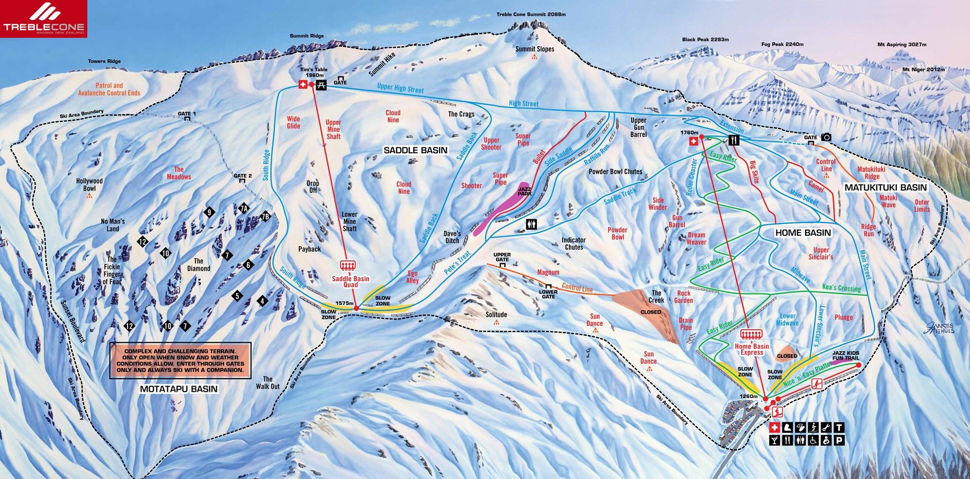 Treble Cone Trail map