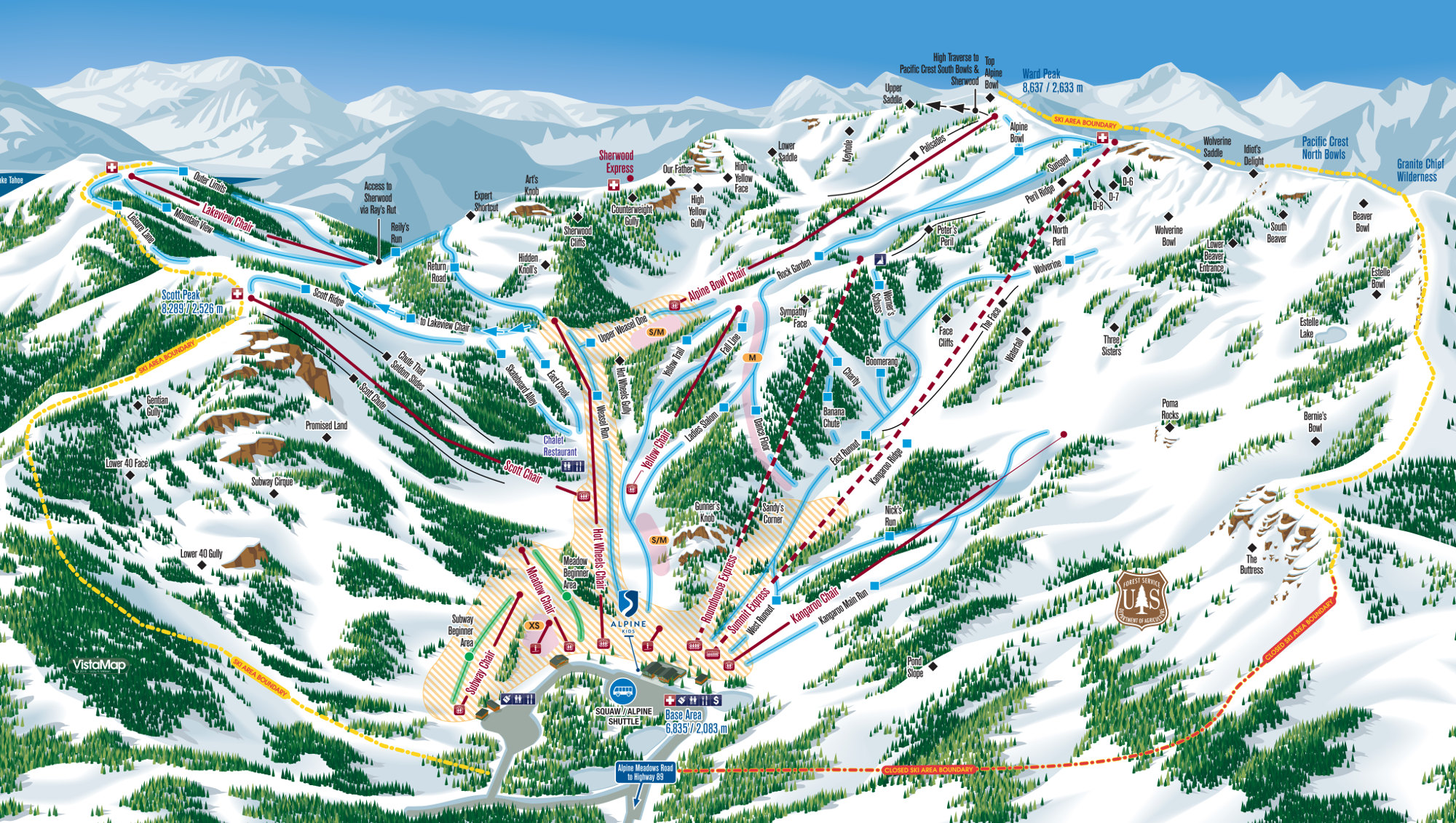 Alpine Meadows Mapa pistas