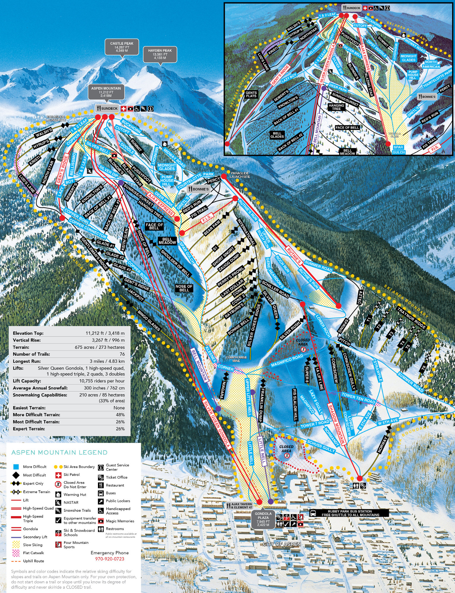Aspen Mountain Plan des pistes