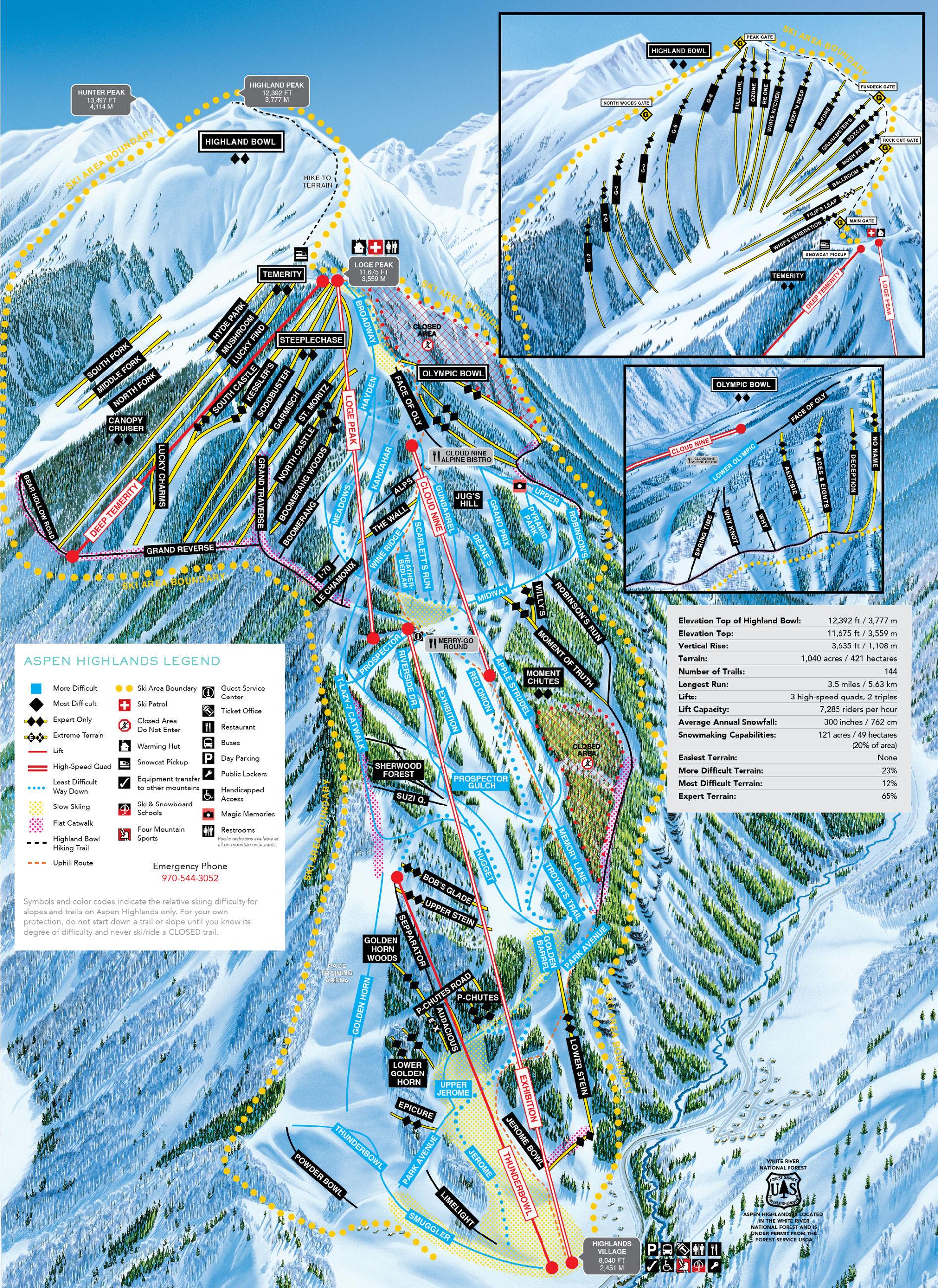 Aspen Highlands  Pistenplan