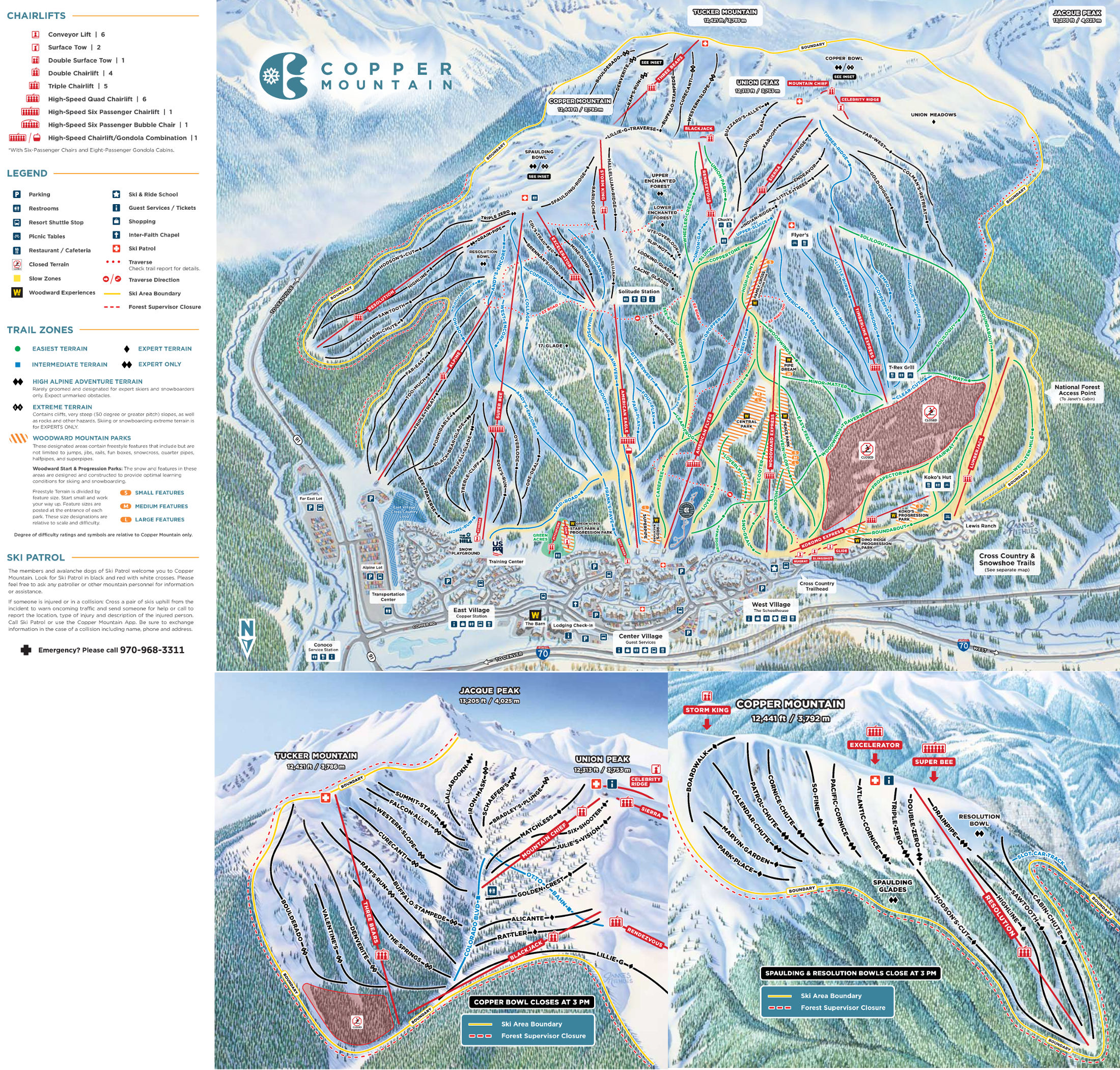 Copper Mountain  Plan des pistes