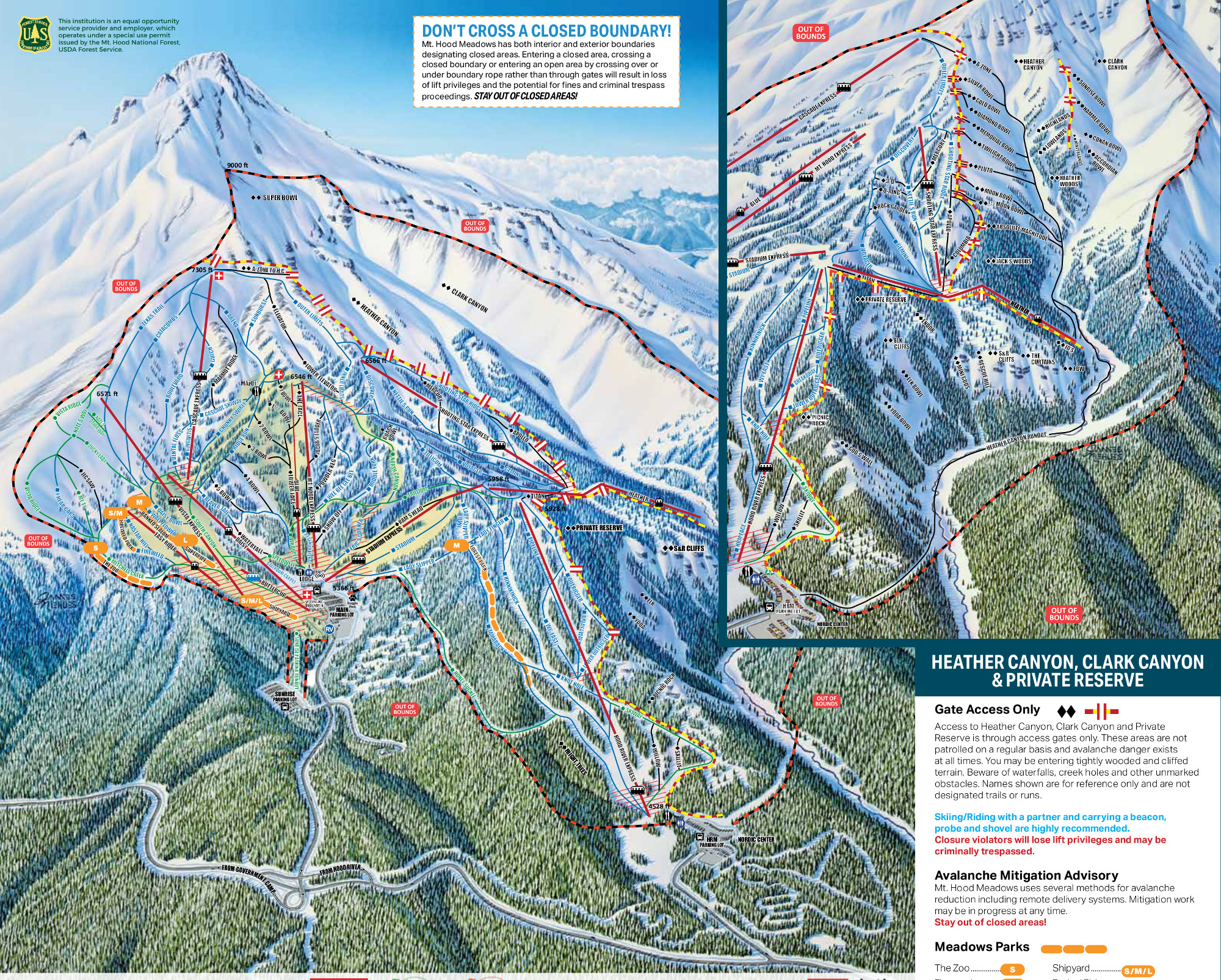 Mount Hood Meadows Mapa pistas
