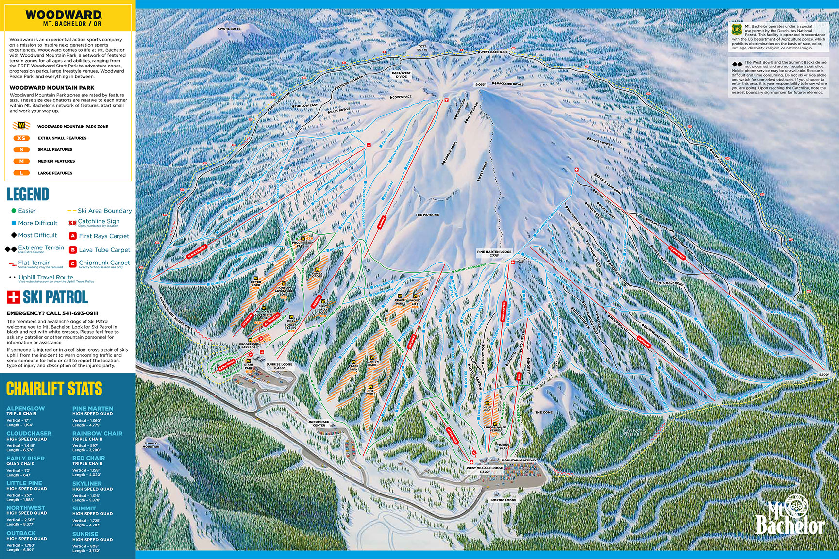 Mount Bachelor Plan des pistes