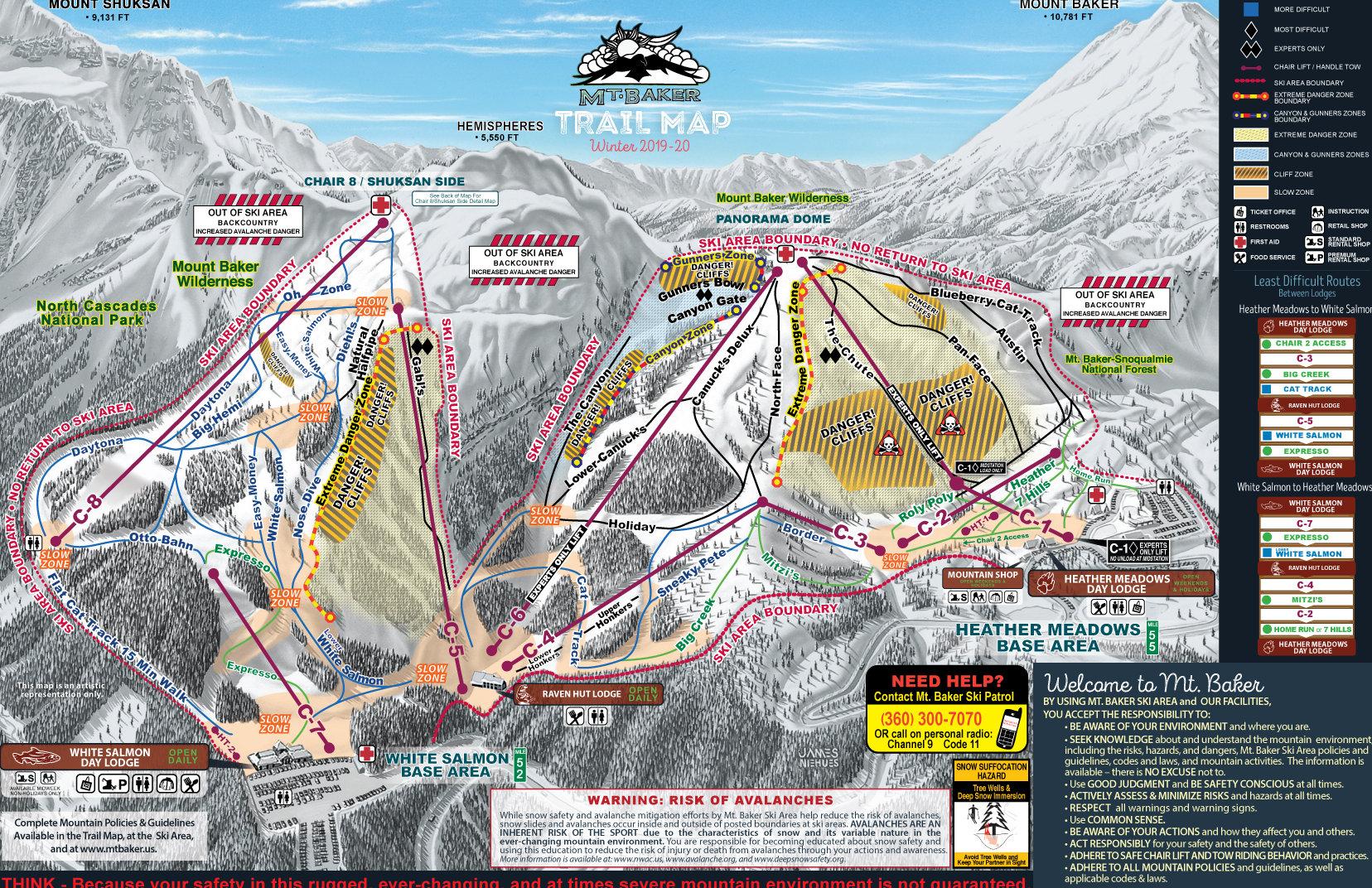 Mount Baker Mapa pistas
