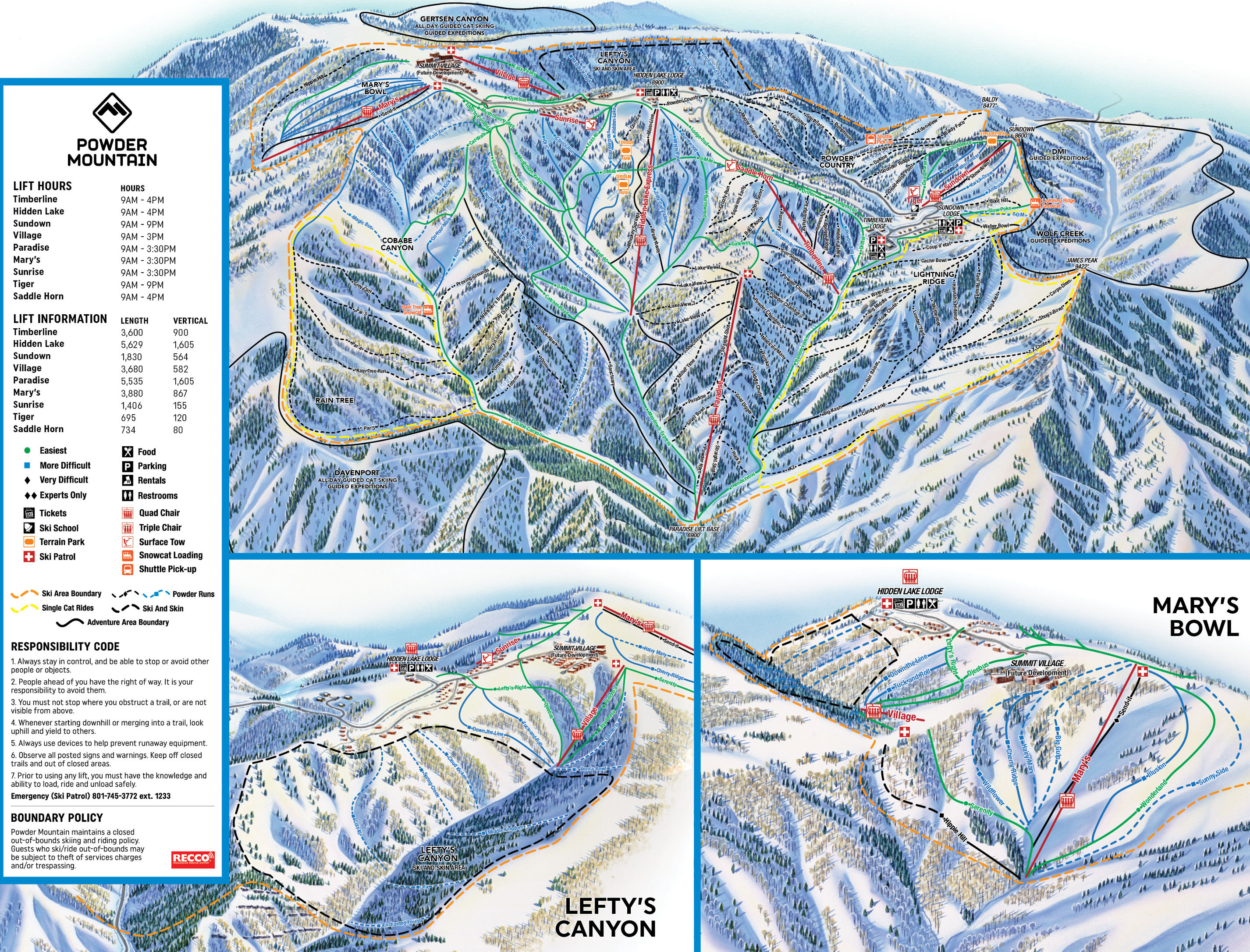 Powder Mountain  Plan des pistes