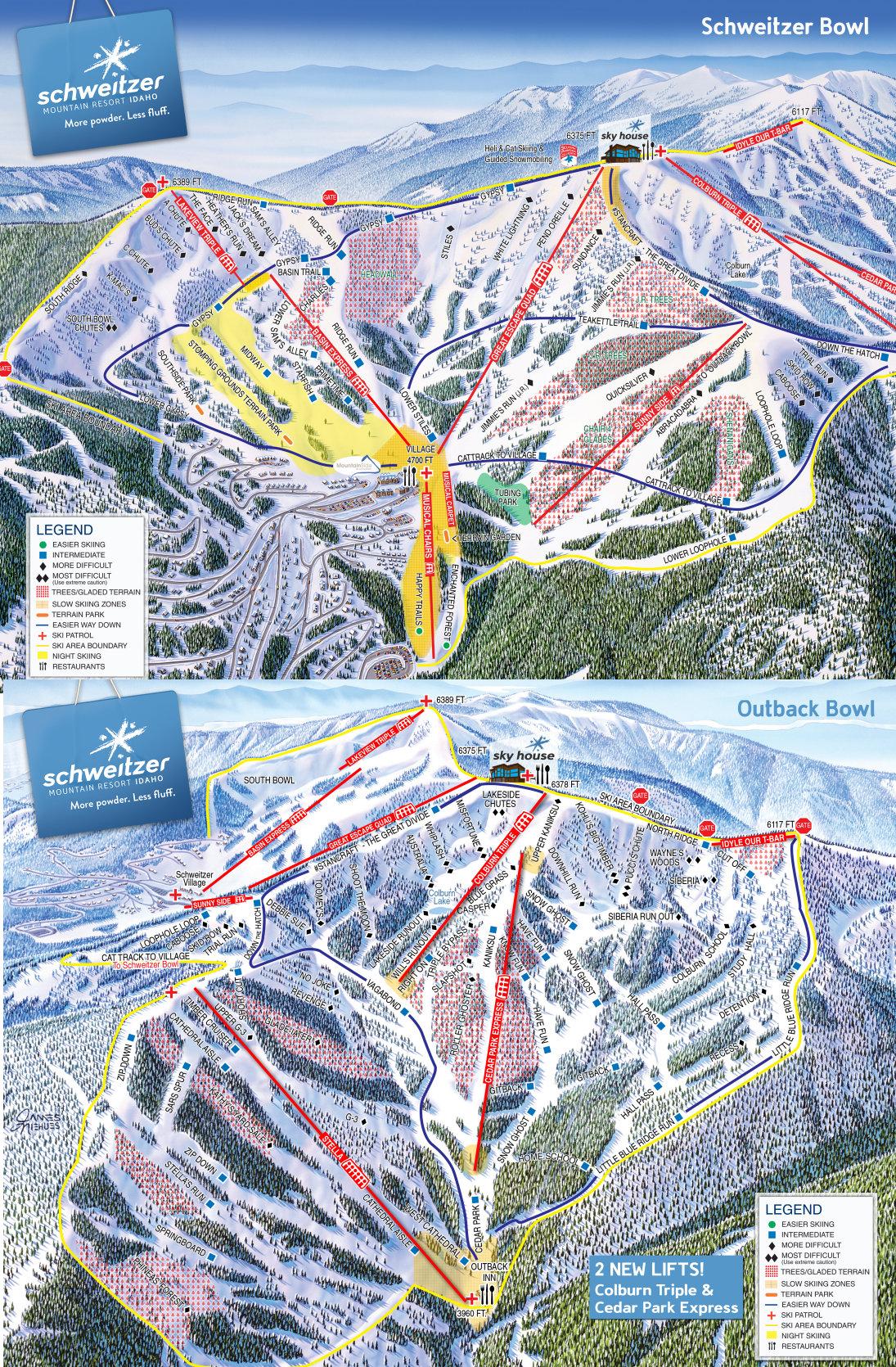 Schweitzer Mountain Resort Pistenplan